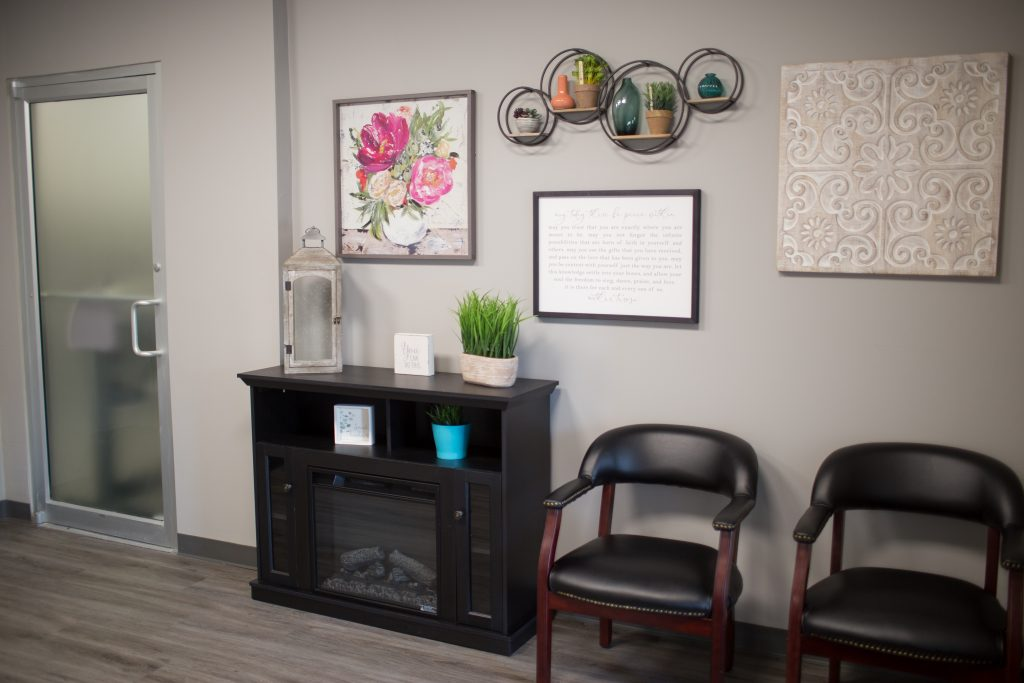 Champaign Counseling lobby fireplace